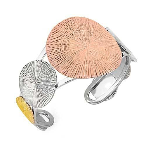 jorge silver bangle with rose gold and gold embellishments