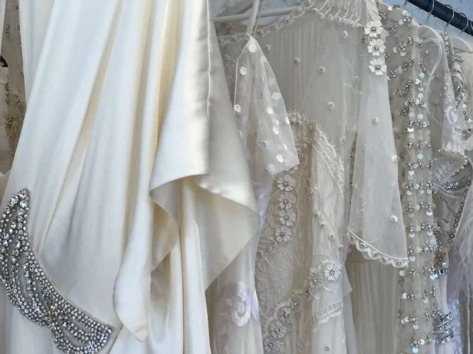 close up of detail on wedding dresses beading and stitching