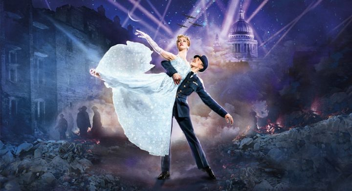 mathew bournes cinderella poster war time London background soldier lifting lady in blue dress