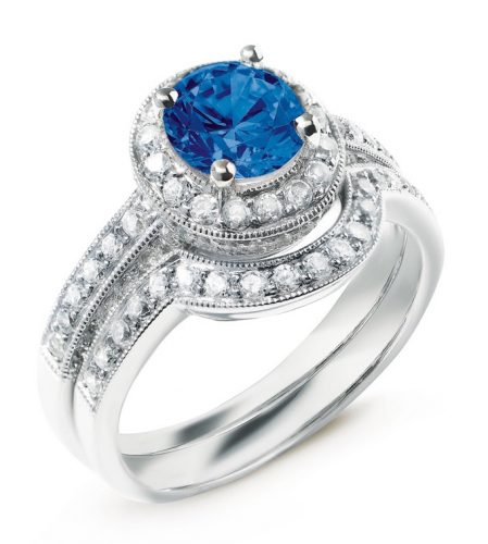 biagio diamond ring with central sapphire