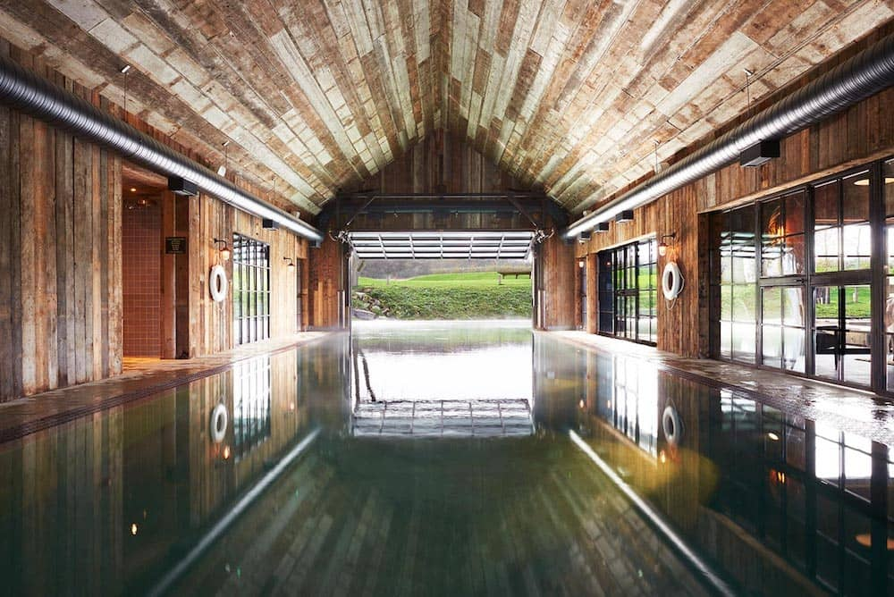 soho farmhouse spa indoor pool log cabin