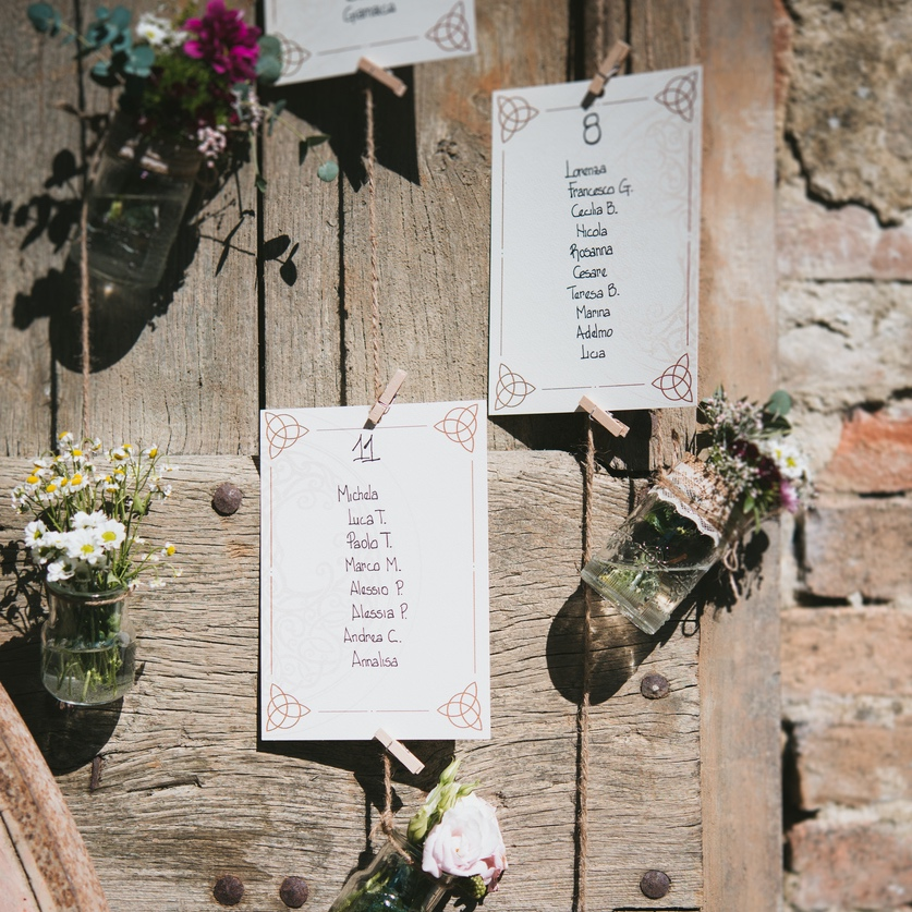 detail of a wedding place cards with flowers