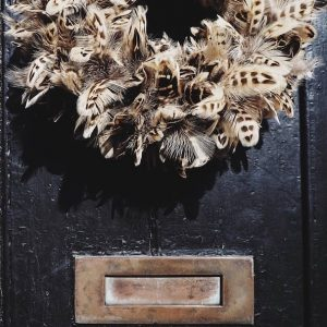 picture of plucking door wreath and mail