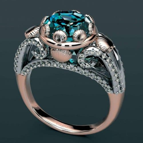 Biagio rose gold ring diamond detail emerald gemstone