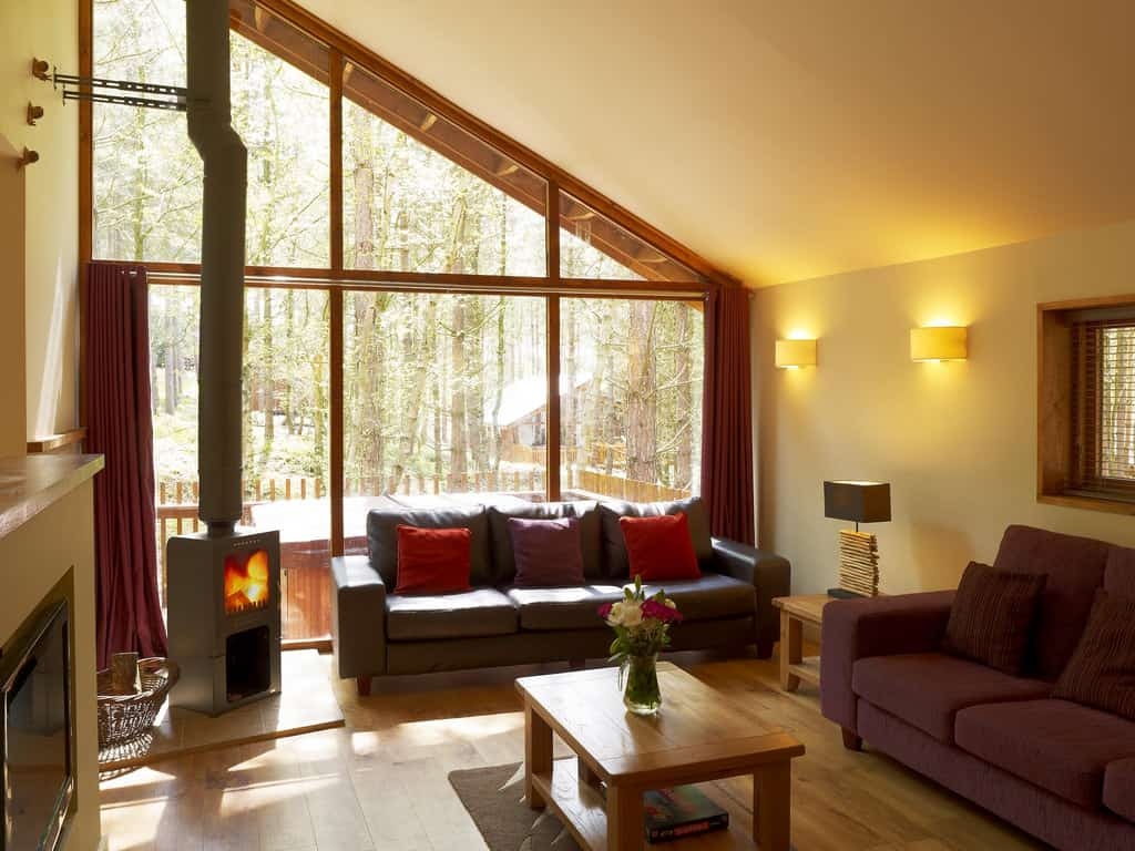 forest holidays luxury log cabins interior living area