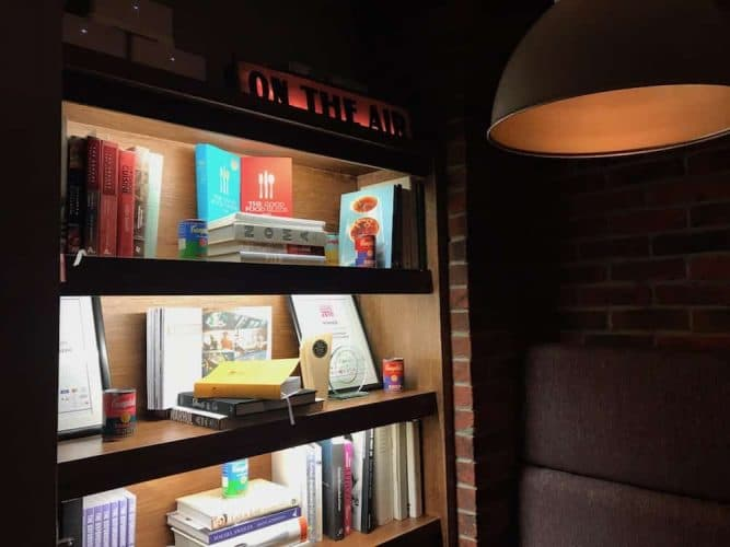 oxford kitchen book shelf lit up light fitting foreground