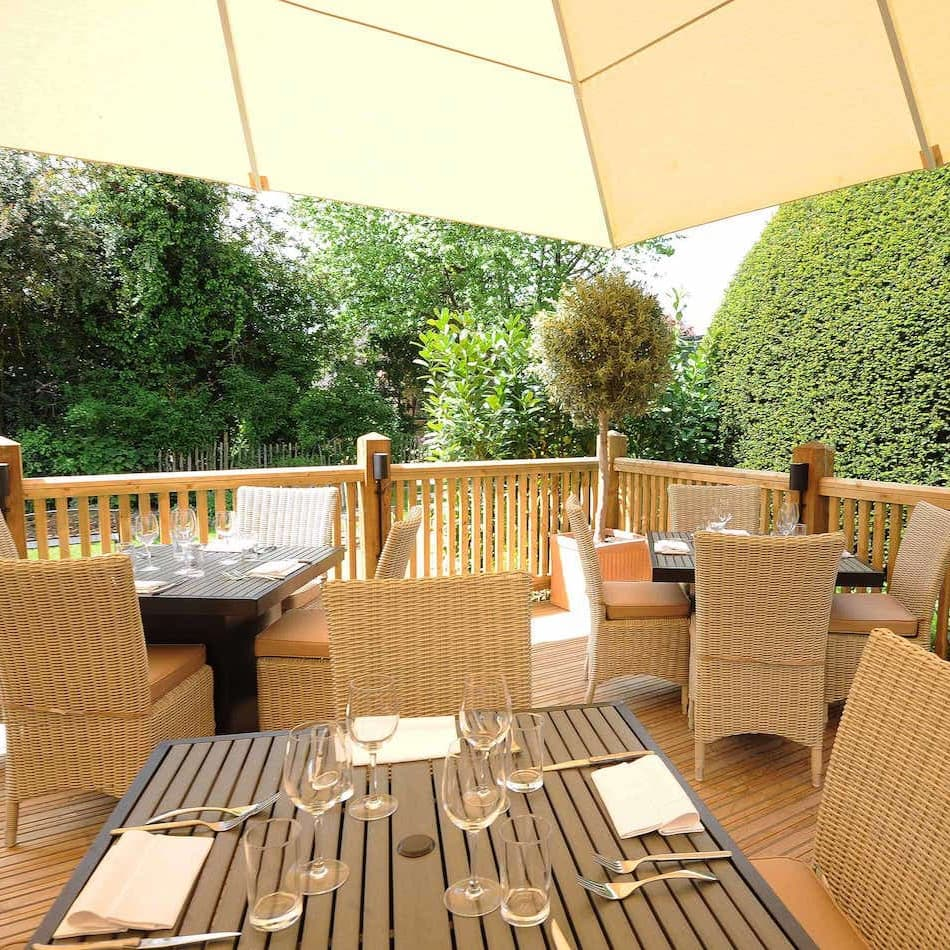 greyhound garden dining outside area under parasol wicker chairs view garden tree shrubs