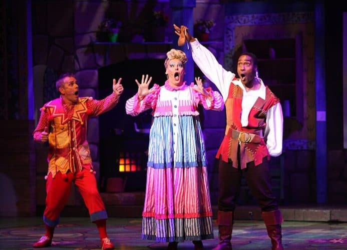 jack and the beanstalk panto at Wycombe swan Simon webbe holding bag of beans Chris Jarvis dame trot shocked faces