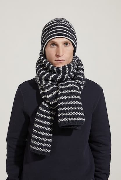 man wearing the workers club stripe navy white scarf hat