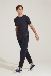 the workers club model in navy t shirt joggers