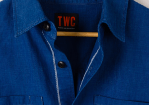 the workers club blue shirt collar close up detail