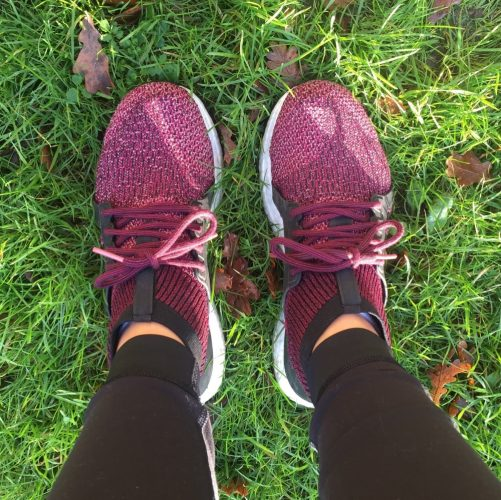 womens Adidas UltraBoost Trainers Burgundy ungreen grass orange leaves