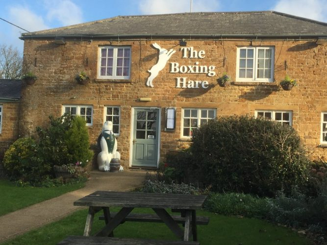 boxing hare pub outside front bench shrubs