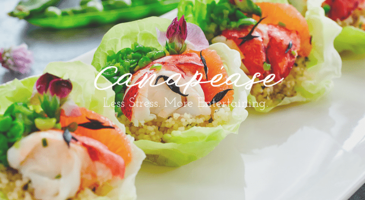 ccnapease logo canapés prawn cousin house in lettuce leaf lined up