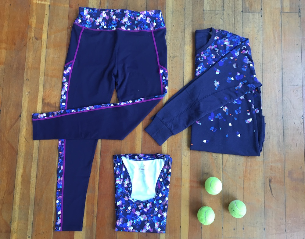 joules women's activewear purple leggings floral jumper floral vest three tennis balls