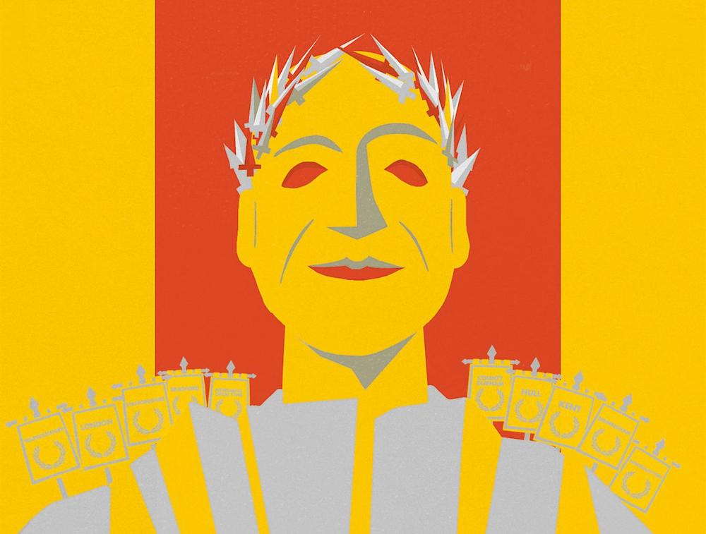 yellow red Julius Cesar animation for royal Shakespeare company children's production