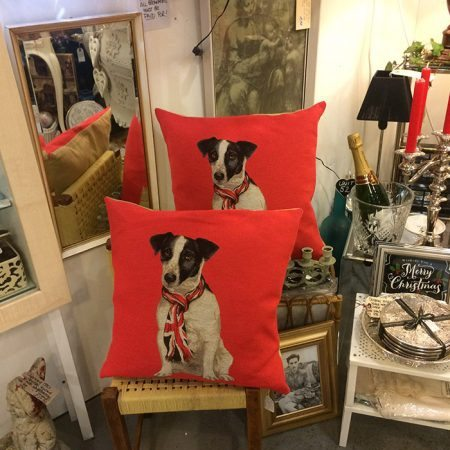 old flight house vintage red cushion with image of dog on leash