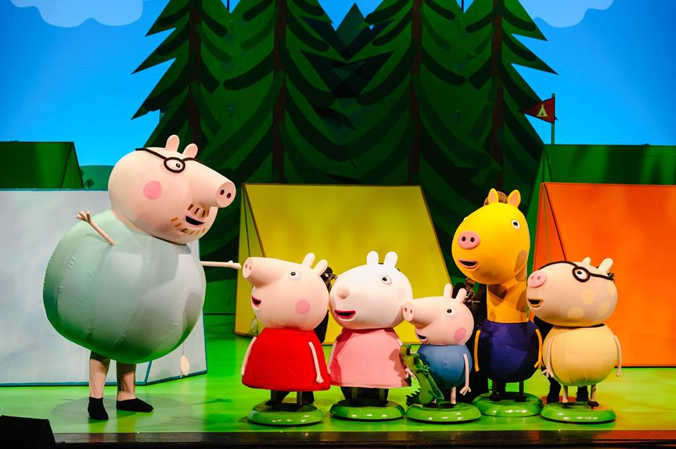 peppa pig characters on stage trees campsite stage set