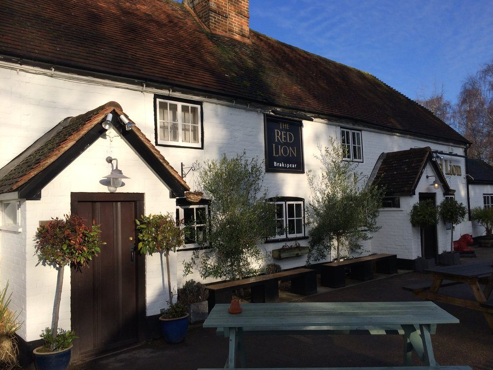 red lion cholsey pub white walls slanted roof blue picnic bench outside