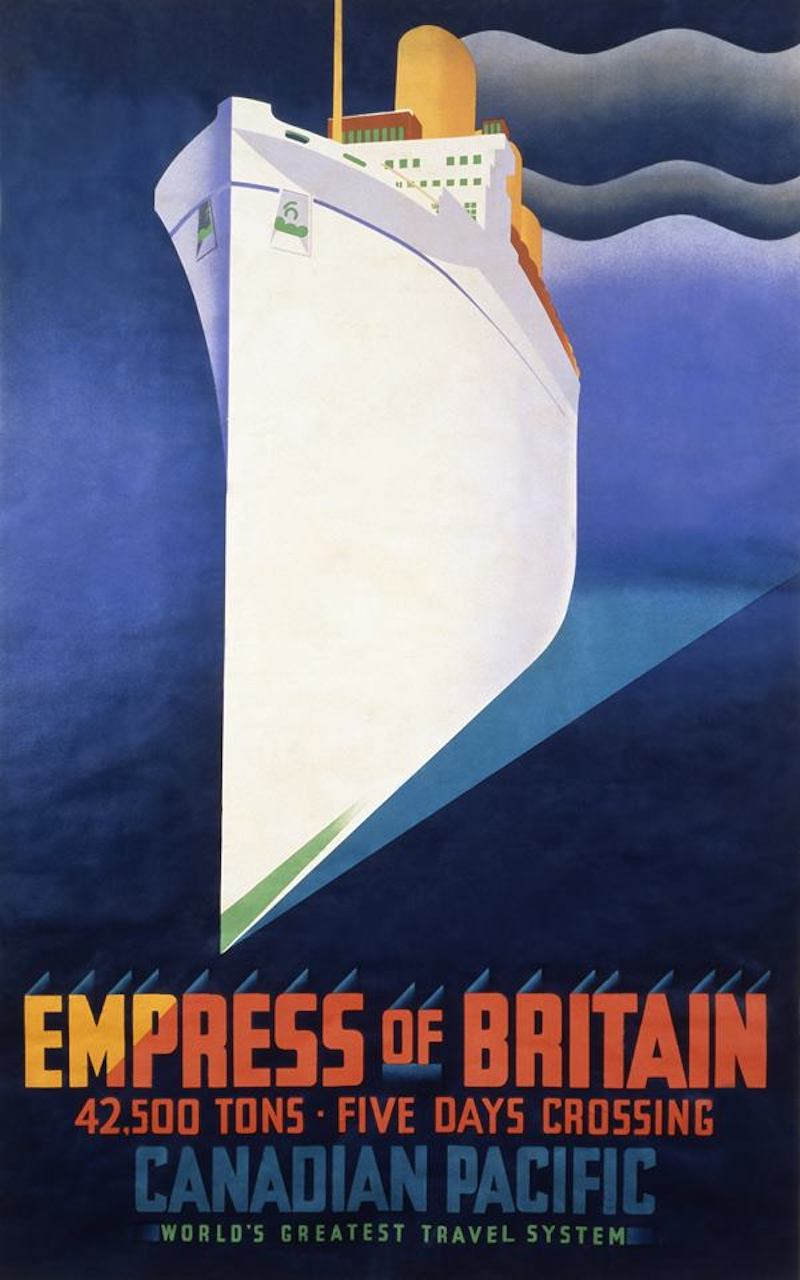 v and a museum ocean liners exhibit empress of Britain poster white ship
