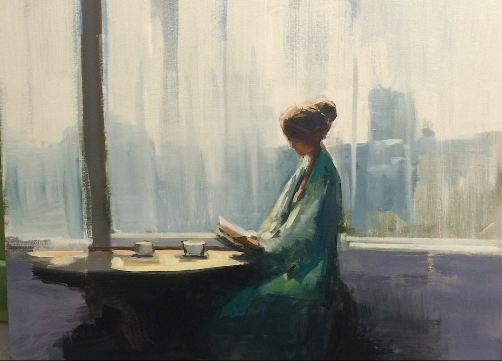 craig mooney drawing art woman on window sitting reading blue and white colours