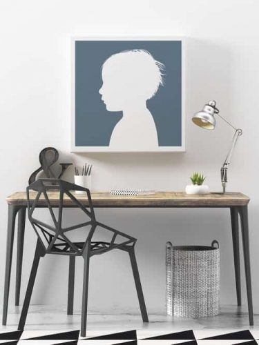 Little Peach portraits shape profile of child's head white blue background chair