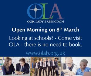 OLA advert purple banner with images students