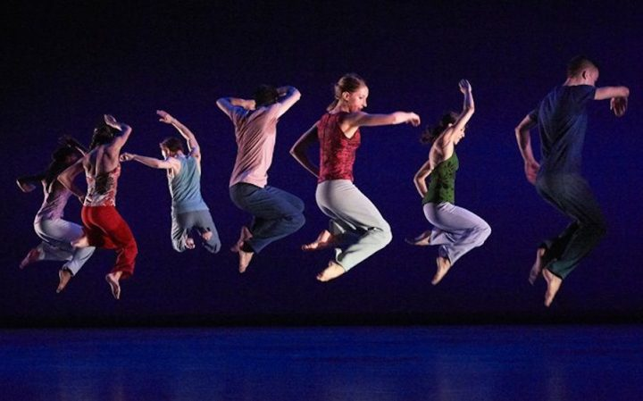 Richard Alston Dance Company New Theatre Oxford people jumping blue background