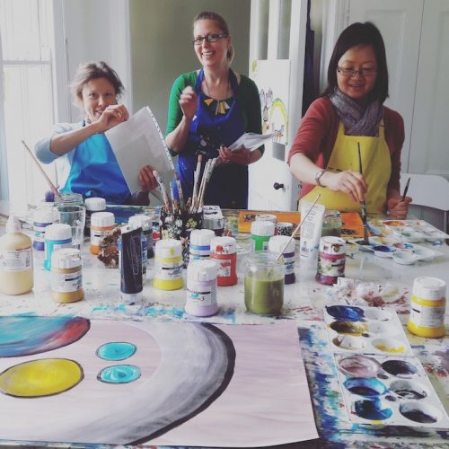 be in art classes women painting paint colours