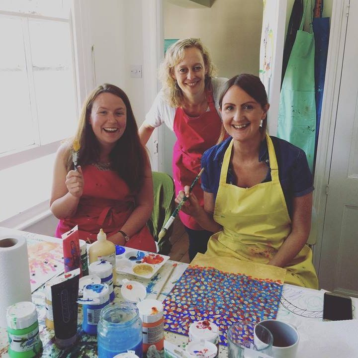 be in art women three women crafting smiling painting