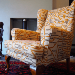 k h quirky sitting chair with map pattern