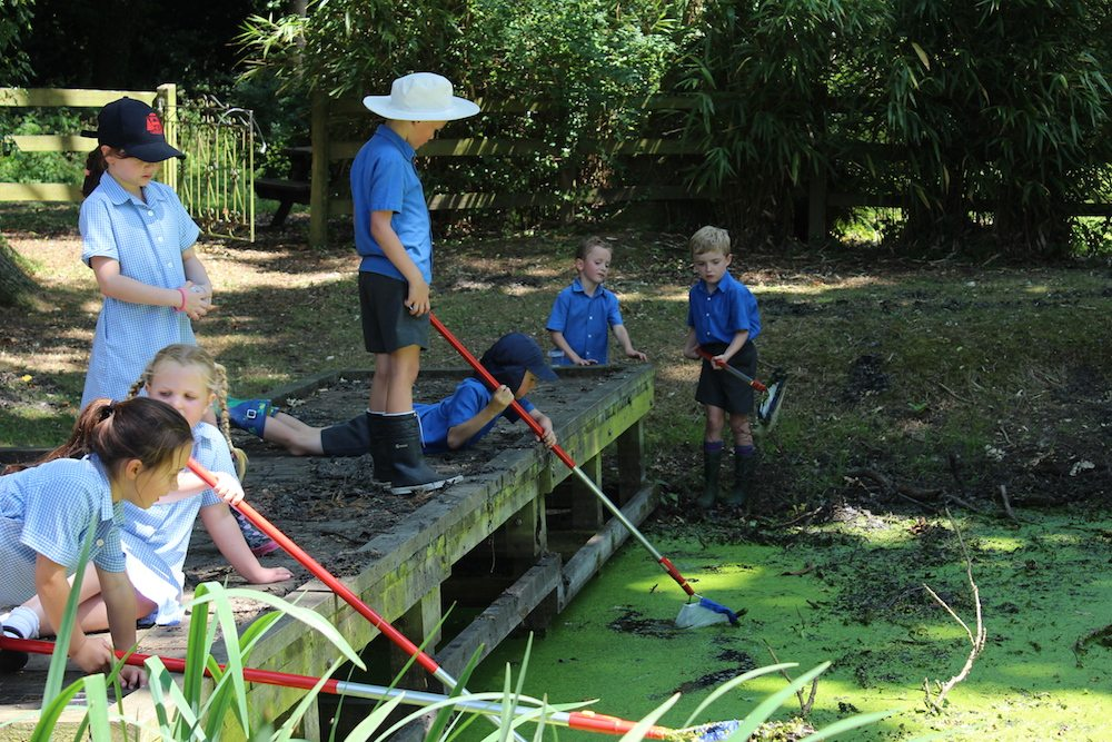 oratory children fishing outside in nature wearing blue shirts
