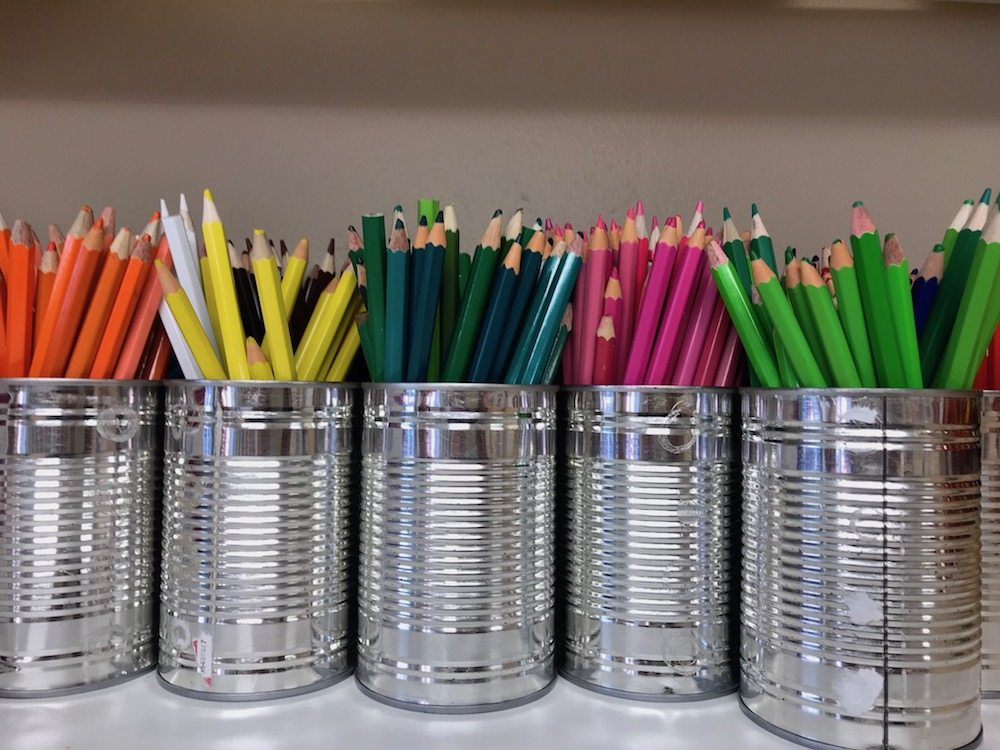 oratory pencils colourful yellow green blue pink