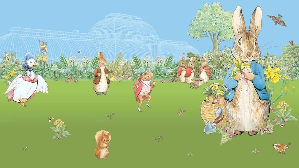 peter rabbit and toad and beatrix potter characters against cartoon illustrated backdrop of kew gardens