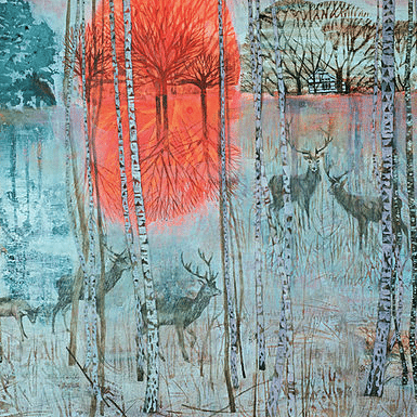 carina haslam image of woodlands light blues red deer running through trees