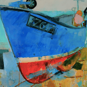 carina haslam paintedly image blue red boat on beach