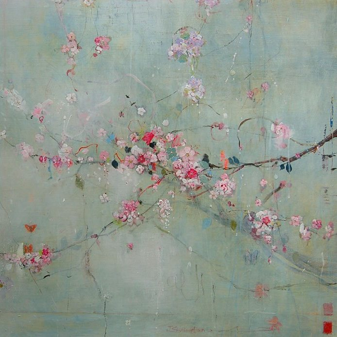 carina haslam image delicate spring flowers light pink and blue