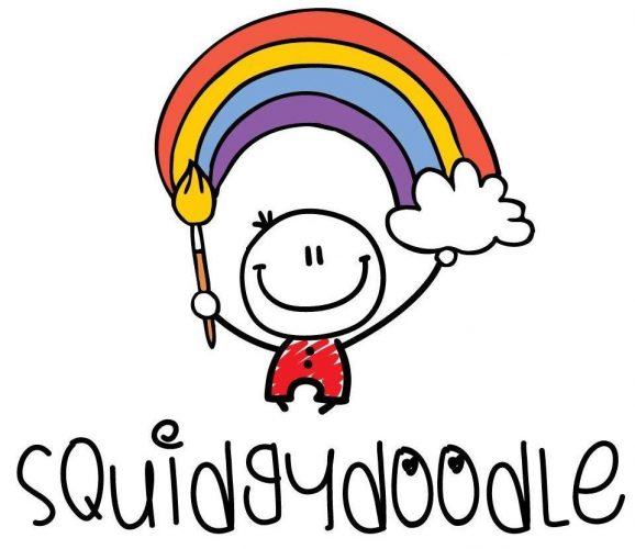 squidgydoodle logo drawing little smiley man with rainbow