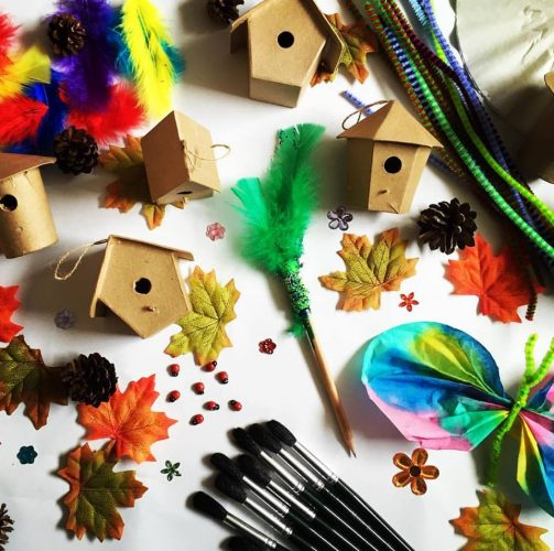 squidgydoodle fairy party crafts wood houses paintbrushes colourful