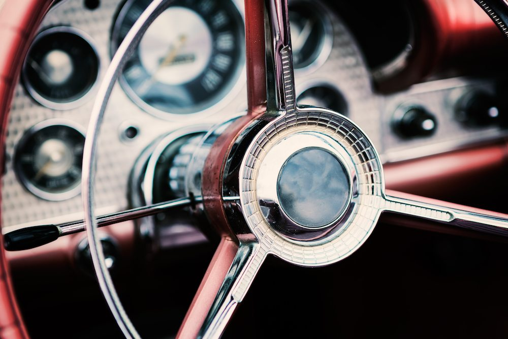 vintage car close up steering wheel