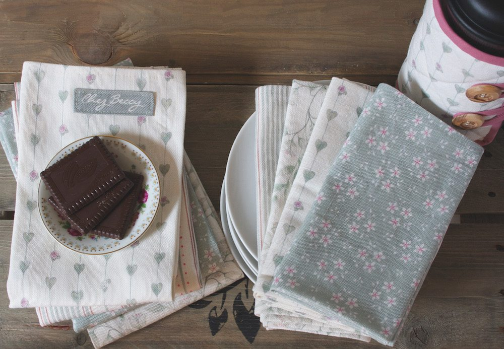 chez Beccy china Burford collection homewares linen napkins tea towels