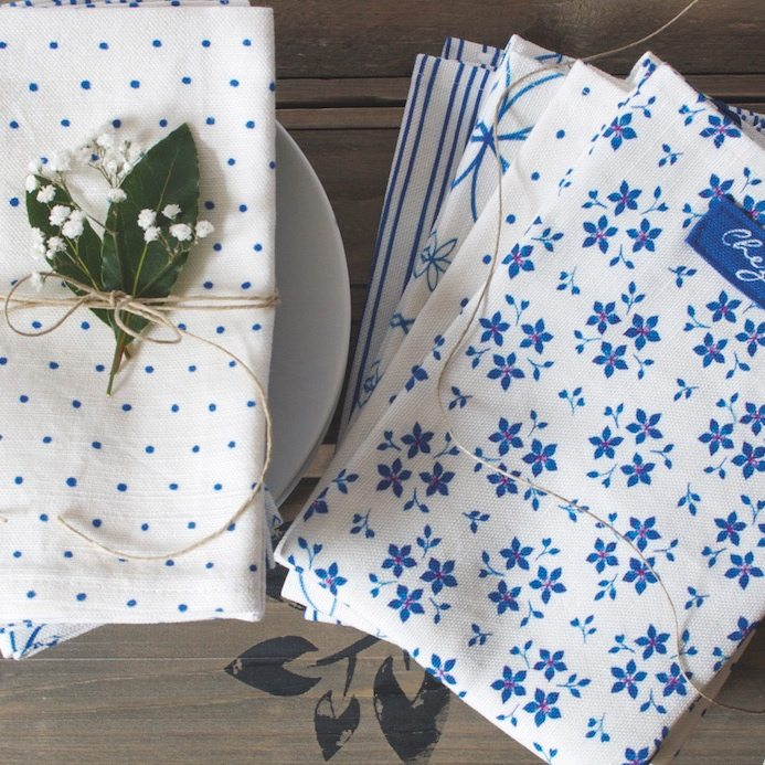 Chez Beccy China blue collection tea towels napkins linen