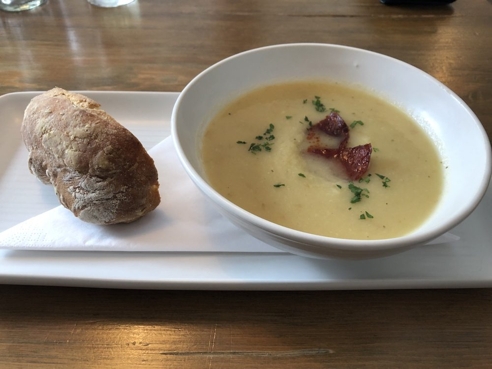 Parsnip soup with bread roll Red Lion Cholsey