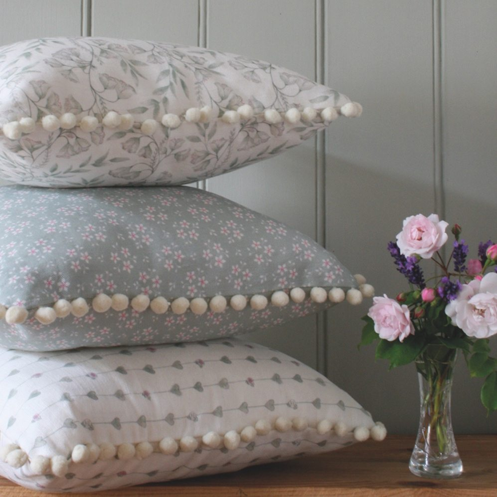 Chez Beccy cushion tower pom poms