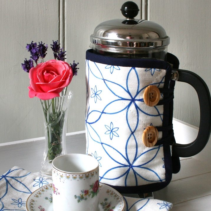 Chez Beccy cafetiere cosy cup saucer rose coffee