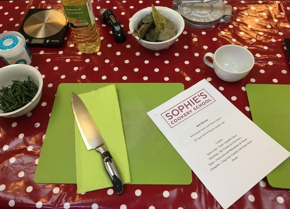 knife chopping board recipe ingredients on red polka dot table
