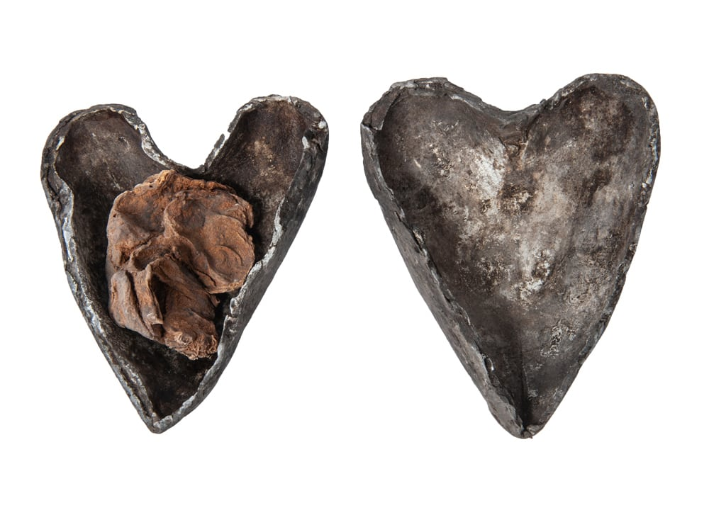 Two metal shaped hearts