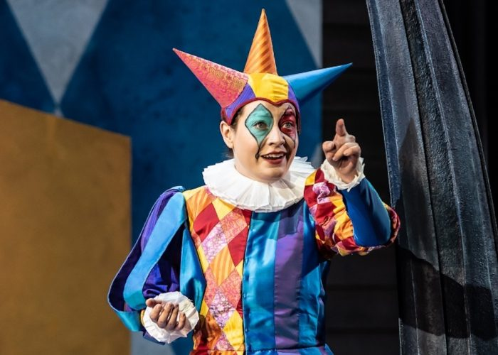 garsignton opera jester pointing cone hat face paint white collar