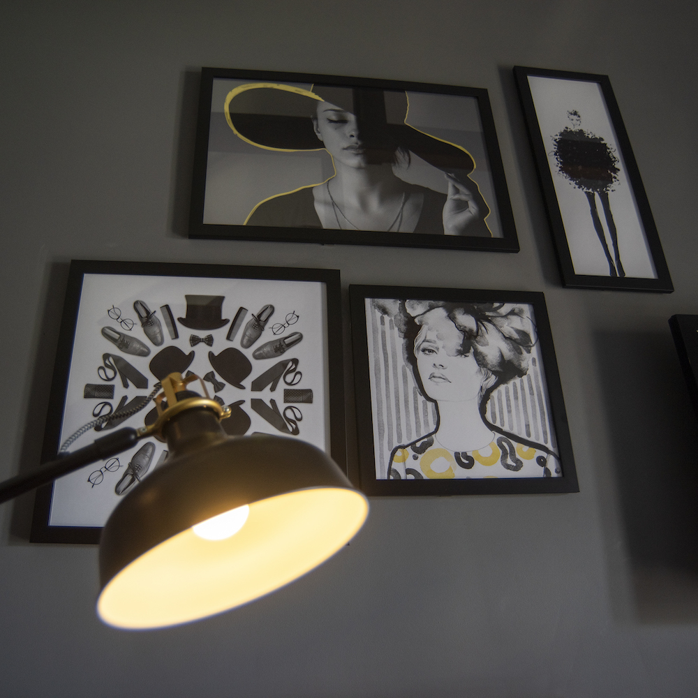 Black and White pictures hanging on wall