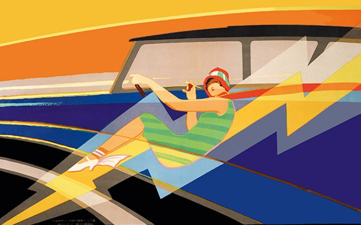 art of advertising 1930s graphic print of woman in a car